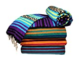 Spirit Quest Supplies Bodhi Blanket Mexican Style Throw Blanket - Falsa Blanket for Yoga, Picnics, Beach, Tapestry, Camping, More (Cool Waters: Turquoise, Violet Purple, Lime Green, Black, Tan)