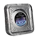 Aluminum Foil Square Stove Burner Covers Disposable Bib Liners Drip Pans Kitchen Gas Range Top Protectors 8.5 x 8.5' Inch(Pack of 50) (50 Packs Square)