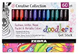 Zebra Pen Doodlerz Gel Stick Pen Mega Set, Bold Point, 1.0mm, Assorted Glitter, Neon, Metallic, Pastel Colors, 60 Pack