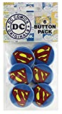 "Button set DC Comics Originals Superman Sparkle Logo 6 Individual Loose Buttons, 1.25"""