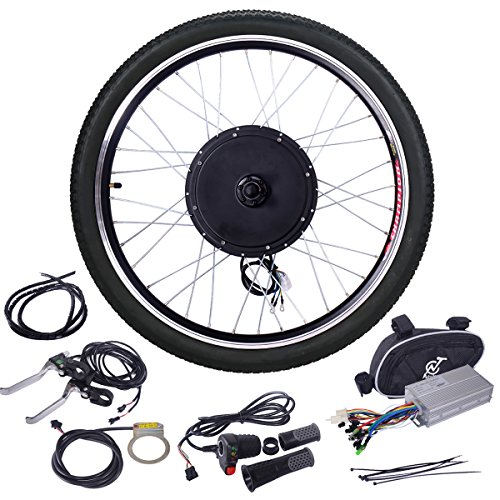 "JAXPETY 48V 1000W Electric Bicycle Cycle E Bike 26"" Front Wheel Ebike Hub Motor Conversion Kit Hub Motor Wheel"