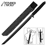 Timber Wolf Full Tang Ninja Sword Machete with Shoulder Scabbard - All Black Stealth Combat Sword with Multi Carry Options