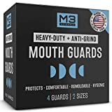 M3 Naturals Heavy Duty Mouth Guards for Teeth Grinding Night Clenching Eliminate Bruxism Moldable Trimmable Dental Sport Bite Mouthguard Sleep Nightguard Retainer Case 2-Size 4 Pieces