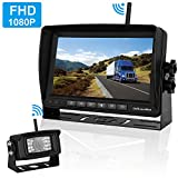 FHD 1080P Digital Wireless Backup Camera and Monitor Kit High-Speed Observation System for RVs/Motorhomes/Trucks/Trailers with 7' Monitor Driving/Reversing Use IP69K Waterproof Super Night Vision