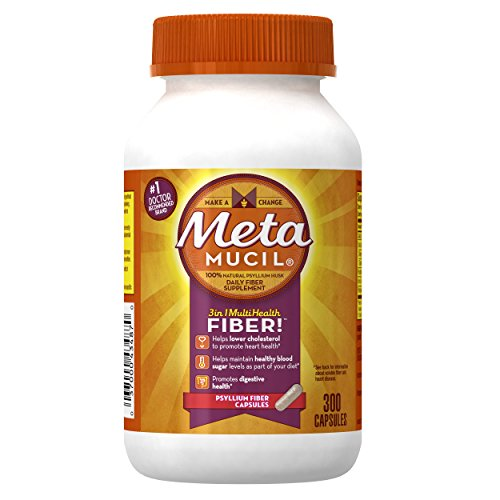Metamucil Daily Fiber Supplement, Psyllium Husk Capsules, 300 Capsules