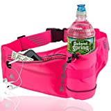 Athlé Running Fanny Pack with Water Bottle Holder - Adjustable Run Belt Storage Pouch with Zipper Pocket for Sports and Travel – 360° Reflective Band – Fits iPhone Plus, Galaxy Note – Hot Pink