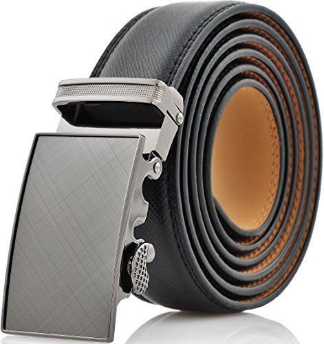 Marino Men's Genuine Leather Ratchet Dress Belt With Automatic Buckle, Enclosed in an Elegant Gift Box - Gunblack Silver - Adjustable from 38' to 54' Waist