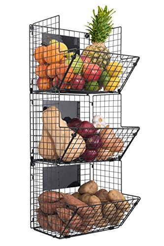 Saratoga Home Premium 3-Tier Wall Mounted Hanging Wire Baskets with Chalkboards High-Grade Black Iron - Fruit or Produce Storage - Pantry Organization - Rustic Country-Style
