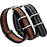 NATO Strap 2 Packs Canvas Fabric Nylon Watch Straps with Stainless Steel Buckle,Adebena Ballistic Replacement NATO Watch Bands Width 22mm Black/Grey/Blue and Black/Grey/Orange