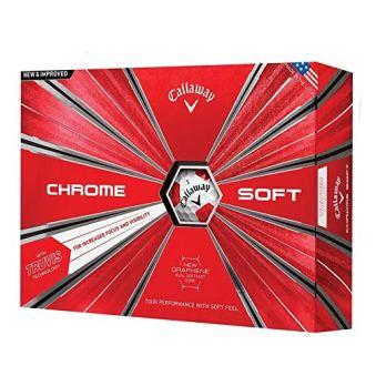Callaway Golf Chrome Soft '18 Truvis Chrome Soft Truvis '18 Golf Ball (12 Ball Pack), Truvis Red