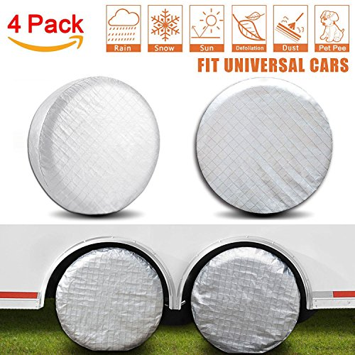 Amfor Set of 4 Tire Covers,Waterproof Aluminum Film Tire Sun Protectors,Fits 27