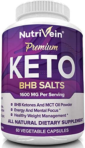 Nutrivein Keto Diet Pills 1600mg - Advanced Ketogenic Diet Supplement - BHB Salts Exogenous Ketones Capsules - Effective Ketosis Best Keto Diet, Mental Focus and Energy, 60 Capsules 6