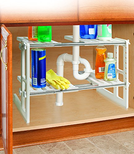 Organize the kitchen sink area declutter organize 2 tier adjustable under sink storage shelves 175 to 295 workwithnaturefo