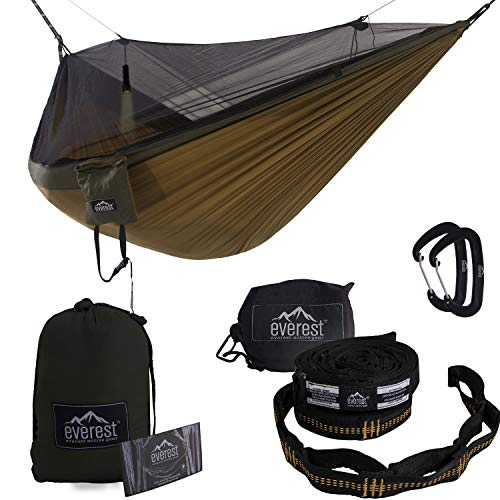Double Camping Hammock - Everest | Bug & Mosquito Free Camping & Outdoor Hammocks Tent Reversible Integrated Bug Net Lightweight Ripstop Nylon - Khaki/Woodland / Net Black