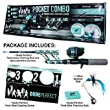 DUDE PERFECT Fishing Rod and Spincast Reel Combo Micro Series - Telescopic Tangle Free, Ultralight, Compact Fishing Rod Travel Kit w/Trick Shot Bait and Spinner Bait