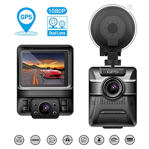 """COOFO Dual Lens Car Dash Cam,1080P FHD 150 ° Wide-Angle Lens, Car DVR Dashboard Camera Recorder,Built-In GPS,G-Sensor, 2.4"""" LCD, WDR and Parking Monitor Function"""