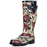New Skull Roses Funky Festival Wellies Wellington Rain Boots Size US 8