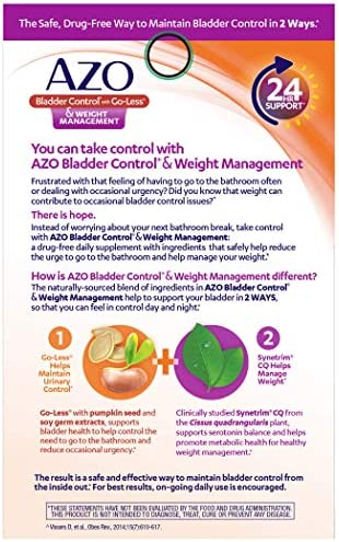 AZO Bladder Control with Go-Less® & Weight Management Dietary Supplement | Helps Reduce Occasional Urgency* | Promotes Healthy Metabolism* | Supports a Good Night's Sleep* | 48 Capsules 7