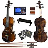 Mendini 4/4 MV500+92D Flamed 1-Piece Back Solid Wood Violin with Case, Tuner, Shoulder Rest, Bow, Rosin, Bridge and Strings - Full Size