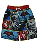 "Batman Vs. Superman Big Boys' ""Ultimate Faceoff"" Swim Trunks - red/blue, 8"