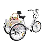 Ridgeyard 6 Speed 24 Inch 3 Wheel Adult Tricycle Bike Cycling Pedal Cruiser Bicycles Folding Basket (White)