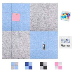 SEG Direct 11.8″ x 11.8″ Large Square Felt Pin Board for Wall | Memo Board, Bulletin Board and Notice Board for Offices | Decorative Pinboard for Kids Set of 4 with 15 Push Pins | 2 Gray and 2 Blue
