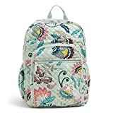 Vera Bradley Iconic XL Campus Backpack, Signature Cotton, Mint Flowers