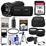 Panasonic HC-V770 Wireless Smartphone Twin Wi-Fi HD Video Camera Camcorder + 32GB Card + Case + LED Light + Microphone + Tripod + Tele/Wide Lens Kit