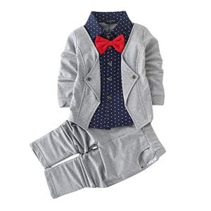 Hopscotch Boys Cotton Blazer Style Shirt and Pant Set in Grey Colour