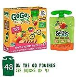 GoGo squeeZ Fruit & VeggieZ on the Go, Apple Peach Sweet Potato, 3.2 Ounce (48 Pouches), Gluten Free, Vegan Friendly, Healthy Snacks, Unsweetened, Recloseable, BPA Free Pouches