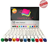 Fabric Markers Permanent 12 Pack premium quality bright dual tip stained fine writers art fabric pens BY Crafts 4 ALL .Child safe,water-based & non-toxic