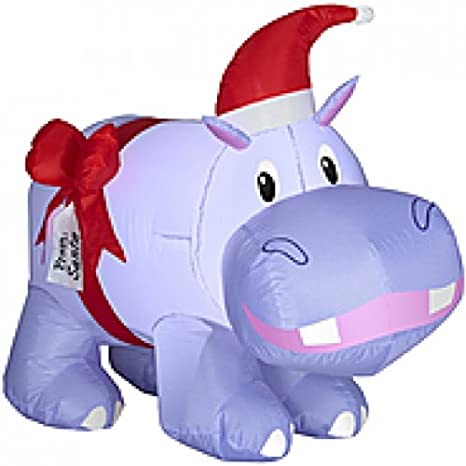 Christmas Inflatable 2 9 Purple Hippo W Hat And Bow Outdoor Holiday Yard