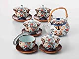 TOKYO MATCHA SELECTION - [SUPER VALUE] Arita-yaki Porcelain: PEONY - Kyusu Tea pot, 5 tea cup & saucer Set w Box from Japan [Standard ship by EMS: with Tracking & Insurance]