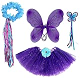 Enchantly Girls Dark Purple & Teal Fairy Set with Wings, Fairy Wand and Satin Ribbon Halo