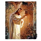 Moslion Soft Cozy Throw Blanket Jesus Knocking On Your Door Religious Fuzzy Warm Couch/Bed Blanket for Adult/Youth Polyester 60 X 80 Inches(Home/Travel/Camping Applicable)