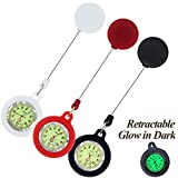 GetLucky Paramedic Luminous Nurse Fob Watch for Nurses Doctors, Nite Glow in Dark with Whole Dial & Pointer,Retractable Clip on Design (White Red Black)