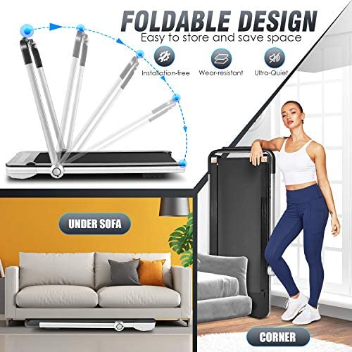 FUNMILY 2 in 1 Under Desk Folding Treadmill, 2.25HP Walking Running Machine with Bluetooth Speaker, Remote Control, Built-in 5 Modes & 12 Programs, Installation-Free, 2020 Model 6