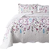 Bedsure Queen/Full Size (90'x96') 3-Piece Quilt Set Coverlet, Lilac Flower Pattern, Lightweight Design for Spring and Summer, 1 Quilt and 2 Pillow Shams
