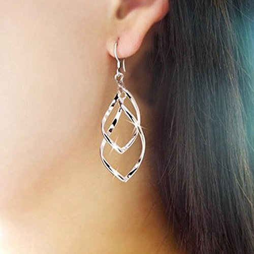 Meolin Double Twist Wave Long Drop Dangle Earrings Silver Jewelry for Women