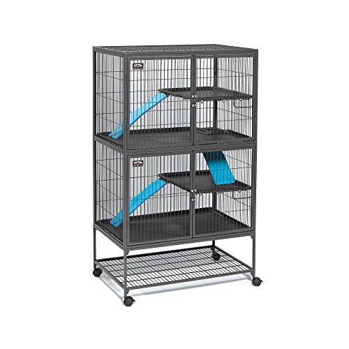 Midwest Deluxe Ferret Nation Double Unit Ferret Cage (Model 182) Includes 2 Leak-Proof Pans, 2 Shelves, 3 Ramps w/Ramp Covers & 4 Locking Wheel Casters, Measures 36' L x 25' W x 62.5' H Inches