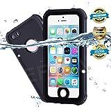 EFFUN Waterproof iPhone 5/5S/SE Case, IP68 Certified Waterproof Underwater Cover Dustproof Snowproof Shockproof Case with Cell Phone Holder, PH Test Paper, Stylus Pen and Floating Strap Black
