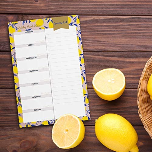 """Oriday Weekly Magnetic Meal Planner Notepad with Tear Off Perforated Grocery Shopping List Checklist for Fridge Door, Kitchen - 52 Sheets, 6"""" X 9"""" - Perfect for Weekly Diet Prep (Menu Planning Pad) 10"""