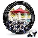 HOMENOTE Misting Cooling System 75.46FT (23M) Misting Line + 34 Brass Mist Nozzles + a Brass Adapter(3/4') Outdoor Mister for Patio Garden Greenhouse Trampoline for waterpark