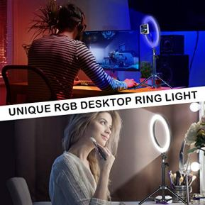 Selfie-Ring-Light-with-Stand-10-inch-RGB-Desk-Ring-Light-with-Tripod-Stand-and-Cell-Phone-Holder-LED-Camera-Ringlight-for-YouTube-Video-Recording-Makeup-Vlogging-Live-Stream-Photography