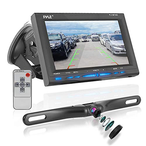 Rear View Backup Car Camera - Screen Monitor System w/ Parking and Reverse Assist Safety Distance Scale Lines, Waterproof & Night Vision, 7' LCD video Color Display for Vehicles - Pyle PLCM7500