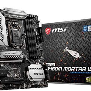MSI MAG B460M Mortar WiFi Gaming Motherboard (mATX, 10th Gen Intel Core, LGA 1200 Socket, DDR4, CFX, Dual M.2 Slots, USB…