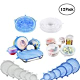 Stretch Lid, CLEYCYE Silicone Stretch Lids - 12pack Reusable Food Saver Covers to Keep Food Fresh - Stretchable Silicon Food Saver of Various Sizes for Can,Pots,Pans,Drinking Glass,Mixing Bowls Covers