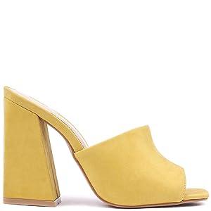 Sandalia Donna Bico Quadrado Salto Alto Bloco Curvado Amarelo