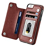 Hoofur iPhone 6s Case, iPhone 6 Case, Slim Fit Premium Leather iPhone 6 Wallet Casae Card Slots Shockproof Folio Flip Protective Shell for Apple iPhone 6/6s (4.7 Inch) (Brown)