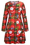 Herose Womens 2017 Classic Santas Candy Canes Tartan Print Mini Skater Dress L Red